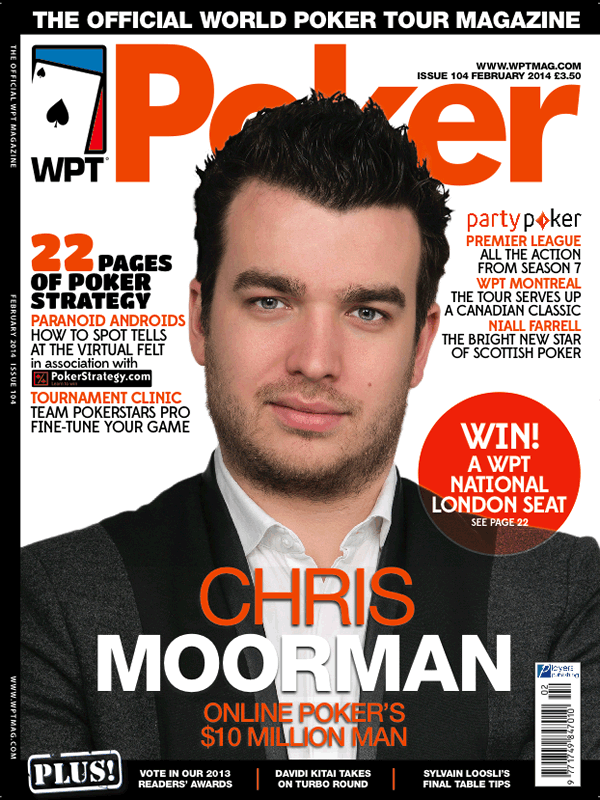 Chris Moorman on the WPT Magazine cover, January 2014